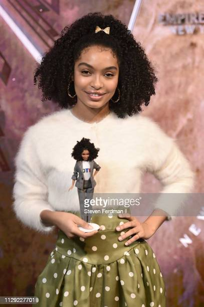 Actress Yara Shahidi celebrates Barbie's 60th Anniversary & International Women's Day at The Empire State Building on March 8, 2019 in New York City....