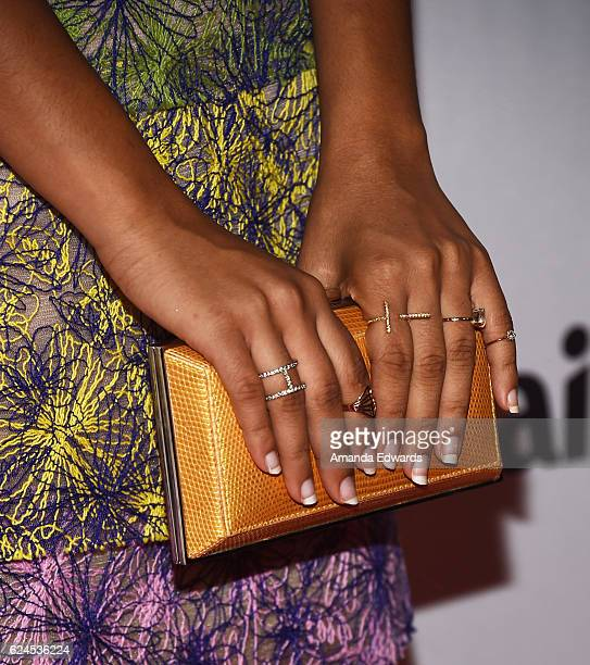 Actress Yara Shahidi clutch and ring detail arrives at the 1st Annual Marie Claire Young Women's Honors at the Marina del Rey Marriott on November 19...