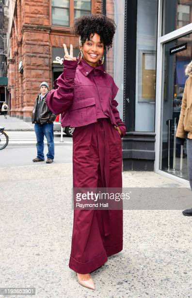 Actress Yara Shahidi is seen outside Build Studio on January 14, 2020 in New York City.