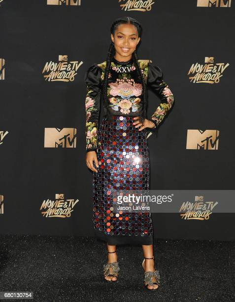 Actress Yara Shahidi poses in the press room at the 2017 MTV Movie and TV Awards at The Shrine Auditorium on May 7 2017 in Los Angeles California