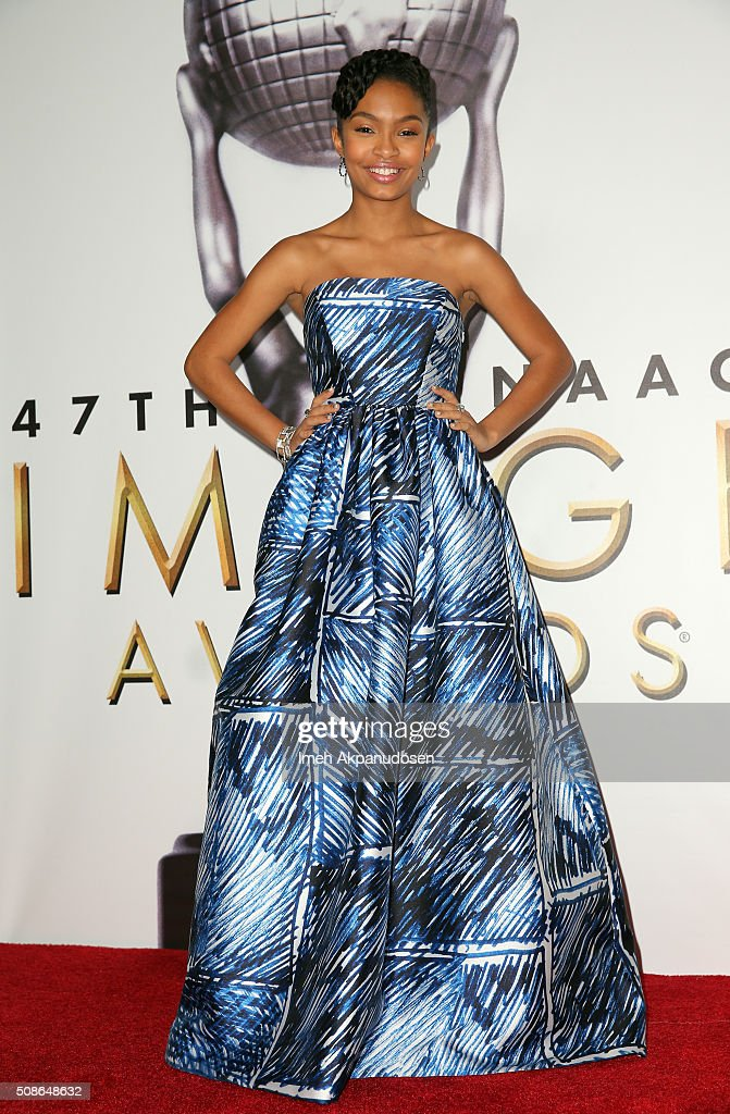 Actress Yara Shahidi poses in the press room during the 47th NAACP Image Awards presented by TV One at Pasadena Civic Auditorium on February 5, 2016 in Pasadena, California.