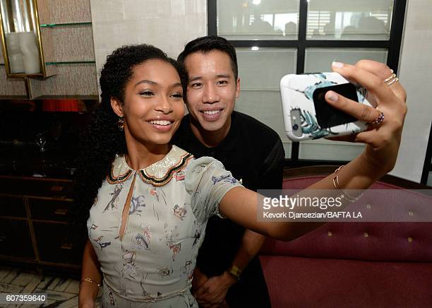 Actress Yara Shahidi takes a selfie with JustJared's Jared Eng during the BBC America BAFTA Los Angeles TV Tea Party 2016 at The London Hotel on...