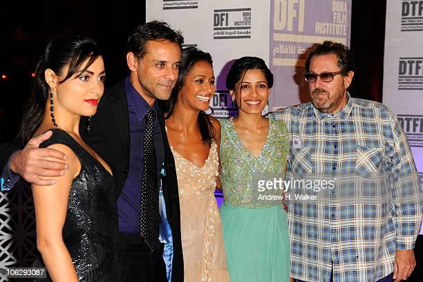 Actress Yasmine Al Massri actor Alexander Siddig writer Rula Jebreal actress Freida Pinto and director Julian Schnabel arrive at the 'Miral' premiere...