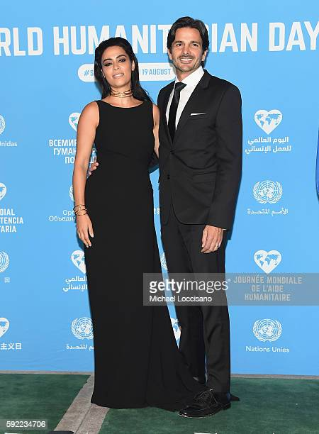Actress Yasmine Al Massri and husband actor Michael Desante attend 2016 World Humanitarian Day One Humanity Event at the United Nations on August 19...