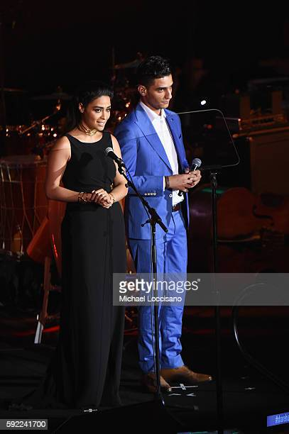 Actress Yasmine Al Massri and singer Mohammed Assaf address the audience during the 2016 World Humanitarian Day One Humanity Event at the United...