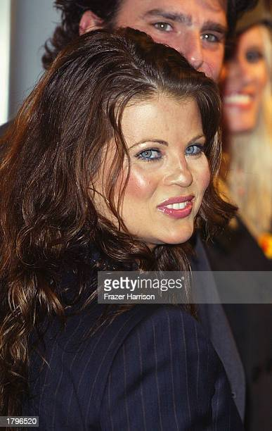 Actress Yasmine Bleeth arrives at the Livin' Large celebration for the engagement of Carmen Electra and Dave Navarro held at The Lounge at Astra...