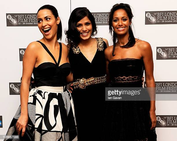 Actress Yasmine Elmasri actress Freida Pinto and writer Rula Jebreal attend the Miral premiere during the 54th BFI London Film Festival at the Vue...