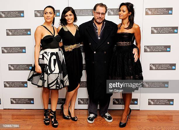 Actress Yasmine Elmasri actress Freida Pinto director Julian Schnabel and writer Rula Jebreal attend the Miral premiere during the 54th BFI London...
