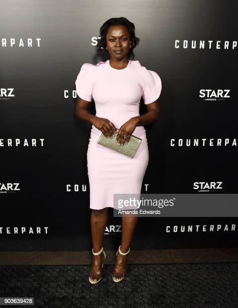Actress Yetide Badaki arrives at the premiere of Starz's 'Counterpart' at the Directors Guild of America on January 10 2018 in Los Angeles California