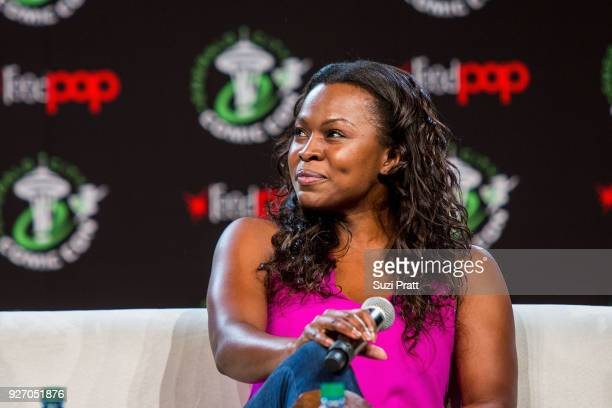 Actress Yetide Badaki of TV show American Gods speaks at Emerald City Comic Con at Washington State Convention Center on March 3 2018 in Seattle...