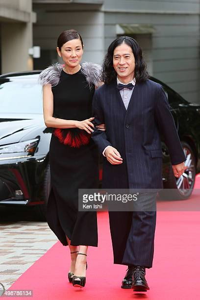 Actress Yo Yoshida and comedian Naoki Matayoshi attend the VOGUE JAPAN Women of the Year at the Meguro Gajoen on November 26 2015 in Tokyo Japan