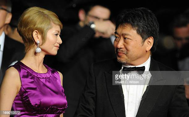 Actress Yoko Maki and director Hirokazu Koreeda attend the 'Soshite Chichi Ni Naru' Premiere during the 66th Annual Cannes Film Festival at the...