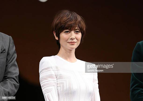 Actress Yoko Maki attends preview screening of the 'The Lion Standing in the Wind' on February 24 2015 in Tokyo Japan