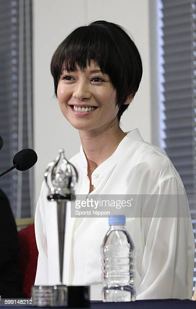 Actress Yoko Maki attends the 'The Ravine of Goodbye' press conference on July 2 2013 in Tokyo Japan