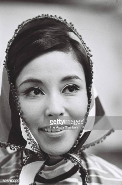 Actress Yoko Nogiwa is seen on a set in August 1967 in Tokyo Japan