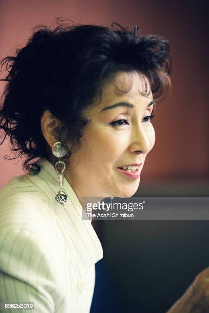 Actress Yoko Nogiwa speaks during the Asahi Shimbun interview at the Nippon TV on May 18 1995 in Tokyo Japan