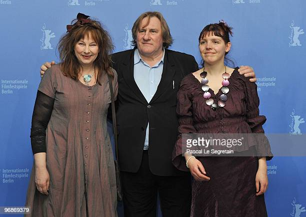 Actress Yolande Moreau actor Gerard Depardieu and actress Miss Ming attend the 'Mammuth' Photocall during day nine of the 60th Berlin International...