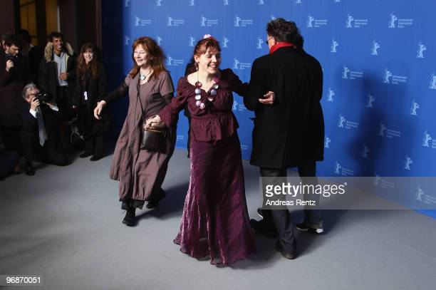 Actress Yolande Moreau actress Miss Ming and director Benoit Delepine dance at the 'Mammuth' Photocall during day nine of the 60th Berlin...