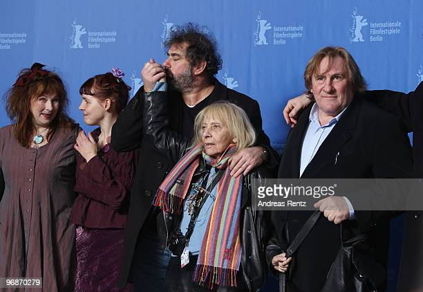 Actress Yolande Moreau actress Miss Ming director Gustave de Kervern photographer Erika Rabau and actor Gerard Depardieu attend the 'Mammuth'...