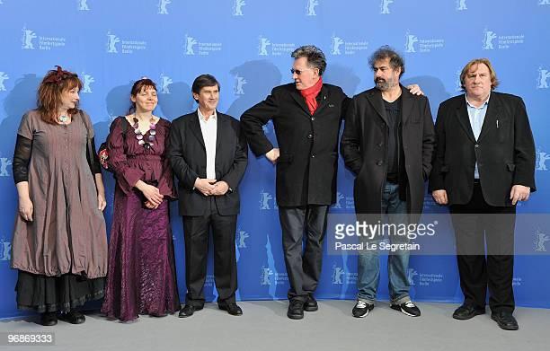 Actress Yolande Moreau actress Miss Ming producer JeanPierre Guerin directors Benoit Delepine Gustave de Kervern and actor Gerard Depardieu attend...