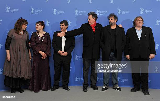 Actress Yolande Moreau actress Miss Ming producer JeanPierre Guerin directors Benoit Delepine Gustave de Kervern and actor Gerard Depardieu attend...