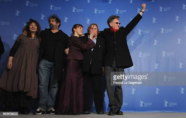 Actress Yolande Moreau director Gustave de Kervern actress Miss Ming actor Gerard Depardieu and director Benoit Delepine attend the 'Mammuth'...