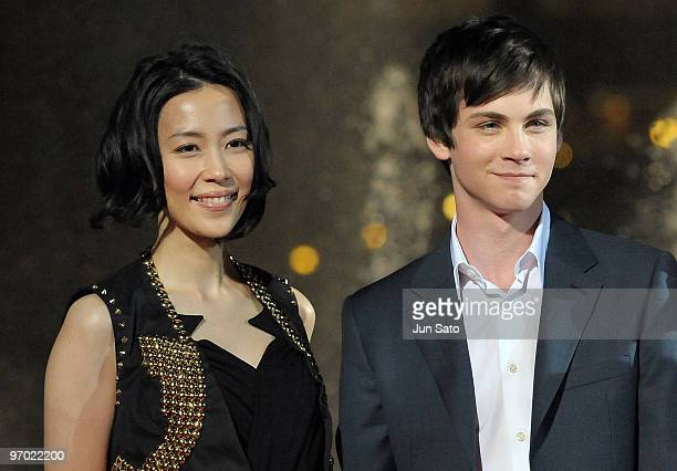 """Actress Yoshino Kimura and actor Logan Lerman attend the """"Percy Jackson & The Olympians: The Lightning Thief"""" Japan Premiere at Tokyo Dome City on..."""