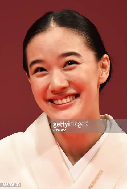 Actress Yu Aoi attends the opening ceremony of the 30th Tokyo International Film Festival at Ex Theater Roppongi on October 25 2017 in Tokyo Japan