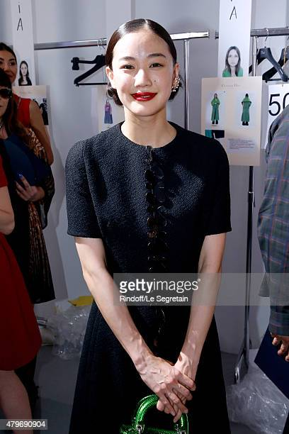 Actress Yu Aoi poses backstage after the Christian Dior show as part of Paris Fashion Week HauteCouture Fall/Winter 2015/2016 on July 6 2015 in Paris...