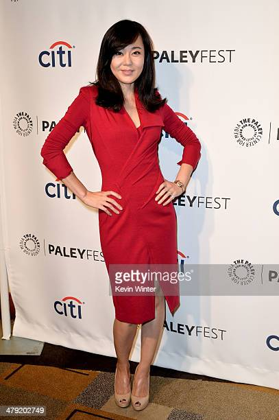 """Actress Yunjin Kim arrives at The Paley Center Media's PaleyFest 2014 Honoring """"Lost"""" 10th Anniversary Reunion at the Dolby Theatre on March 16, 2014..."""