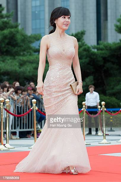Actress Yunjin Kim arrives at the Seoul International Drama Awards 2013 at National Theater on September 5 2013 in Seoul South Korea