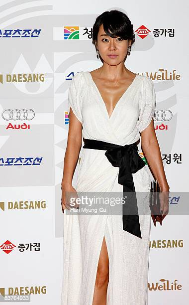 Actress YunJin Kim poses on the red carpet of the 29th Blue Dragon Film Awards at KBS Hall on November 20 2008 in Seoul South Korea