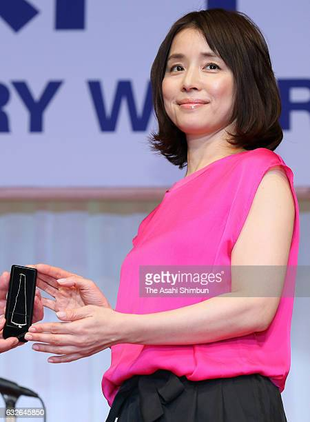 Actress Yuriko Ishida winner of 40's category is seen on stage during the 28th Japan Jewellery Wearer Awards ceremony as a part of International...
