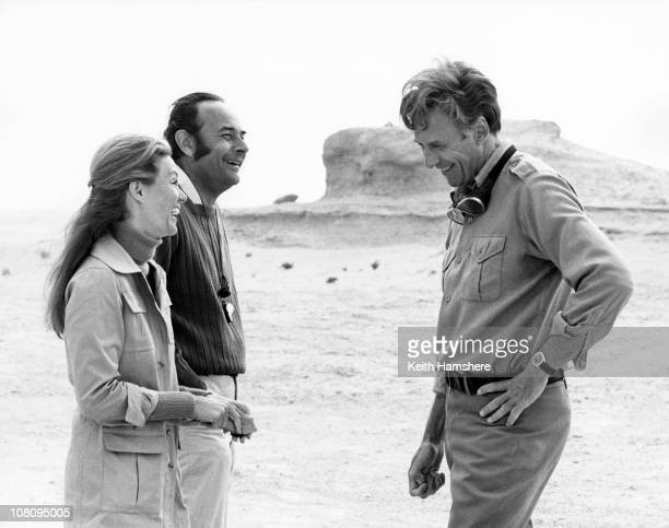 Actress Yvette Mimieux with her husband director Stanley Donen and American actor Richard Kiley during the filming of 'The Little Prince' in Tunisia...