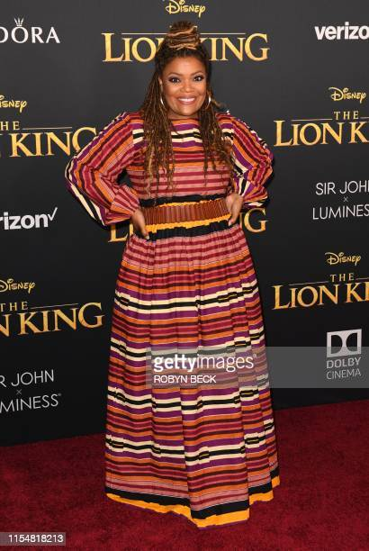 US actress Yvette Nicole Brown arrives for the world premiere of Disney's The Lion King at the Dolby theatre on July 9 2019 in Hollywood