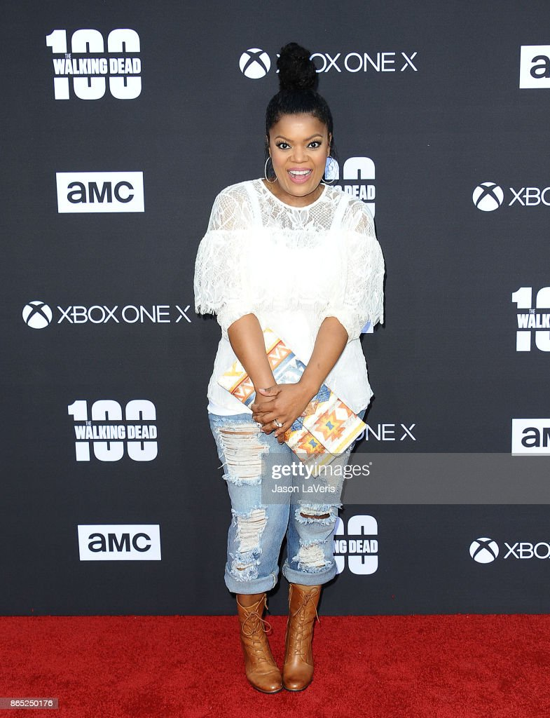 Actress Yvette Nicole Brown attends the 100th episode celebration off 'The Walking Dead' at The Greek Theatre on October 22, 2017 in Los Angeles, California.