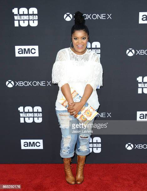 Actress Yvette Nicole Brown attends the 100th episode celebration off 'The Walking Dead' at The Greek Theatre on October 22 2017 in Los Angeles...