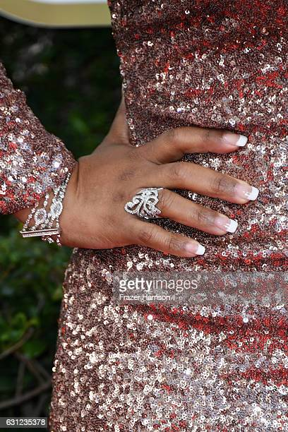 Actress Yvette Nicole Brown jewelry detail/nail detail attends the 74th Annual Golden Globe Awards at The Beverly Hilton Hotel on January 8 2017 in...