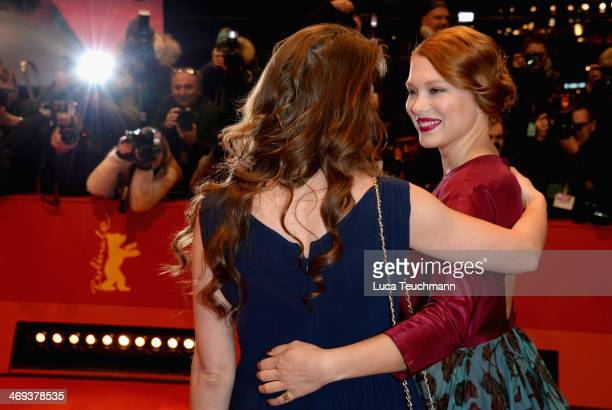 Actress Yvonne Catterfeld and actress Lea Seydoux attend the 'La belle et la bete' premiere during 64th Berlinale International Film Festival at...