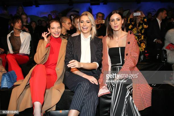 Actress Yvonne Catterfeld and Model Lena Gercke and Singer Lena MeyerLandrut during the Marc Cain Fashion Show Berlin Autumn/Winter 2018 at metro...