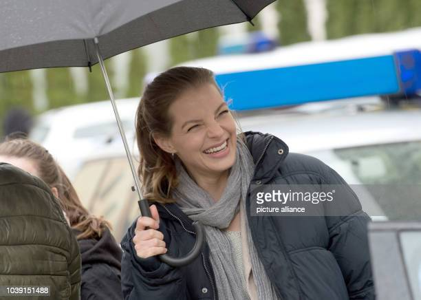 Actress Yvonne Catterfeld as Commissar Viola Delbrueck posing during a photo call on set for the production of 'Wolfsland Tief im Wald' in Goerlitz...