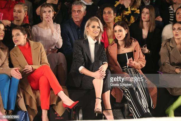 Actress Yvonne Catterfeld Model Lena Gercke and Singer Lena MeyerLandrut during the Marc Cain Fashion Show Berlin Autumn/Winter 2018 at metro station...