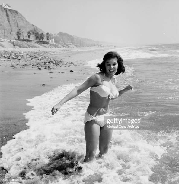 Actress Yvonne Craig poses at the beach in Los Angeles California
