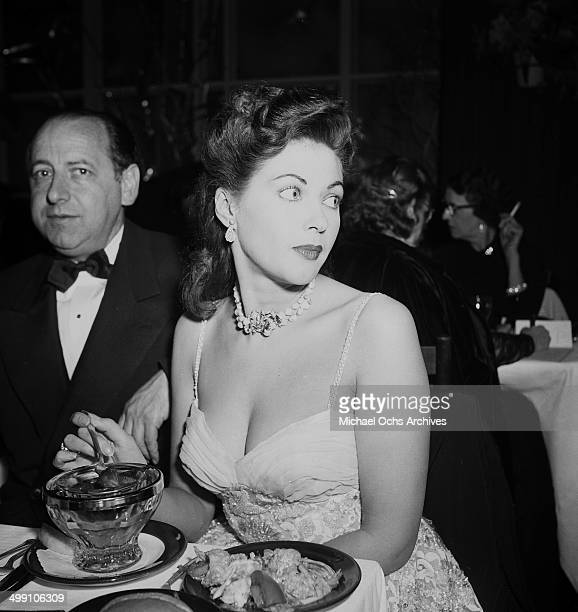 Actress Yvonne De Carlo attends a dinner in Los Angeles California