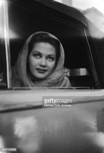 Actress Yvonne De Carlo look on from her car in Los Angeles California