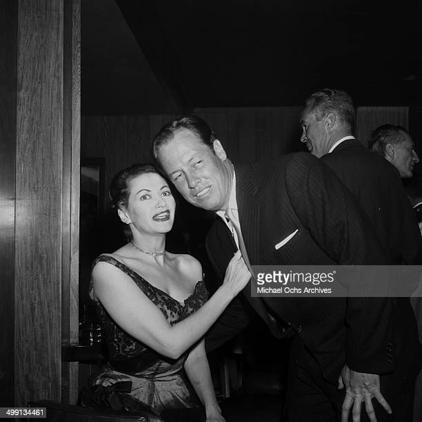 Actress Yvonne De Carlo with Robert Morgan attends a party in Los Angeles California