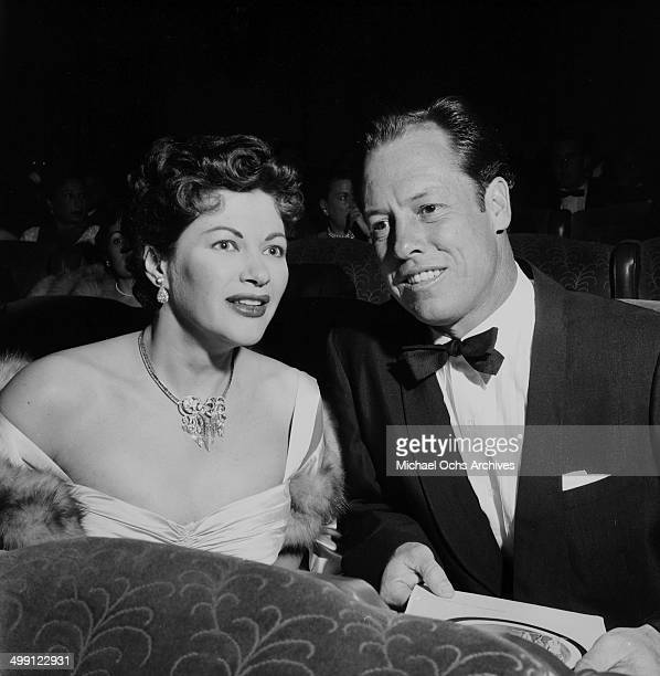 Actress Yvonne De Carlo with Robert Morgan attends a premiere in Los Angeles California