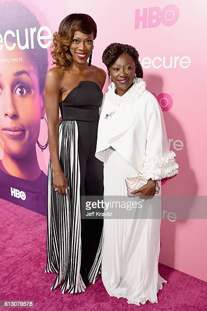 Actress Yvonne Orji and Celine Orji attend the HBO's Insecure Premiere at Nate Holden Performing Arts Center on October 6 2016 in Los Angeles...