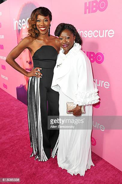 Actress Yvonne Orji and her mom Celine attend the premiere of HBO's Insecure at Nate Holden Performing Arts Center on October 6 2016 in Los Angeles...
