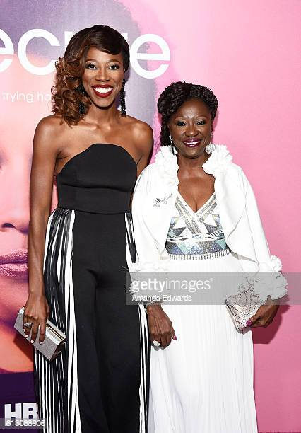 Actress Yvonne Orji and her mother Celine Orji arrive at the premiere of HBO's Insecure at the Nate Holden Performing Arts Center on October 6 2016...
